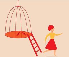 mujer joven escapando de una jaula de pájaros. niña sale del vector de la prisión