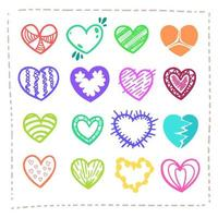 Hand drawn Amazing Colorful Hearts Vector