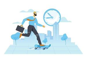 Get on time in office illustration concept vector