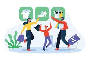 Family shopping online illustration concept vector