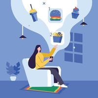 Girls ordering foods from online restaurant apps illustration concept vector