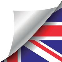 United Kingdom flag with curled corner vector