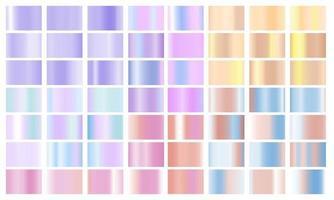 Set colorful Pastel gradient Chrome color foil texture background. vector