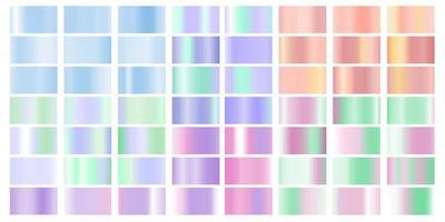 Set colorful Pastel gradient Chrome color foil texture background, vector