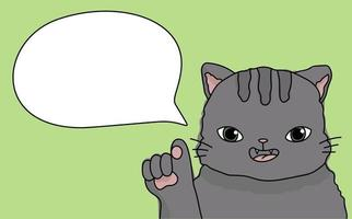 Cute cat teacher speaks in class an animal on a green background vector