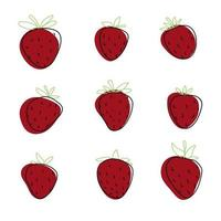 Hand drawn cute doodle isolated strawberry set collection line food vector