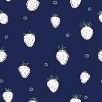 Hand drawn strawberries blue seamless pattern White berry line flowers vector