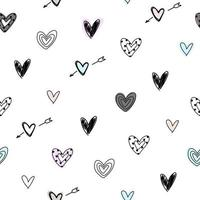 White seamless pattern with doodle hearts Paper love for Valentine Day vector