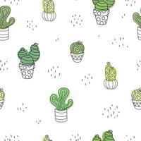 Hand drawn cute doodle cacti white seamless plant pattern Cactus vector