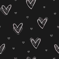 Hand drawn pink hearts black seamless love pattern Valentine Day vector