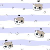 Cat crowns star white purple seamless pattern Cute pet vector