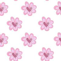 Hand drawn cute doodle pink hearts flowers white seamless love pattern vector