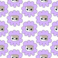 Cat in a purple flower white seamless pattern Cute pet for children vector