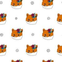 Fox flowers white seamless pattern Cute doodle animal illustration vector