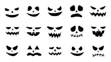 Collection of Halloween pumpkin faces icons. Spooky pumpkin smile jack vector