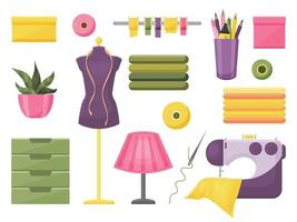 Collection of sewing accessories vector