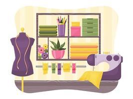 Seamstress workshop interior vector