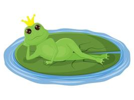 cute frog with a crown on its head, lying on a leaf vector