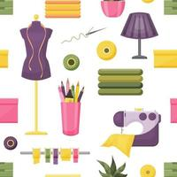 Seamless pattern from sewing accessories vector