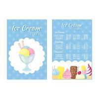 menu for an ice cream restaurant vector