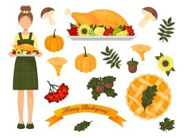 collection of elements for thanksgiving vector