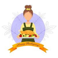 Greeting card with cute girl with turkey Happy thanksgiving vector