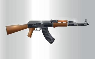 Realistic Russian automatic machine rifle AK 47 Vector Illustration