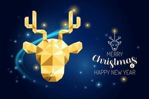Wireframe Merry Christmas reindeer luxury gold geometry Vector