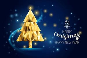 Wireframe Merry Christmas Tree luxury gold geometry Concept Design. vector
