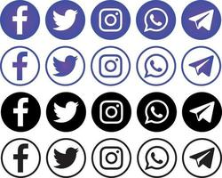 Set of popular social networks icons, several options. vector