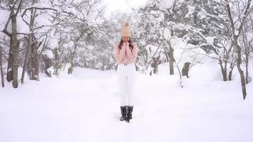 la giovane donna asiatica gode del sorriso intorno alla neve e all'inverno? video