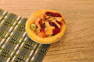 Tasty homemade egg tart pizza bakery concept photo