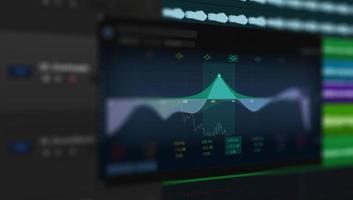 multipista de ondas de audio de sonido en el monitor foto