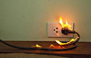en la pared del receptáculo del enchufe del cable eléctrico del fuego foto