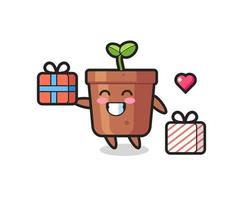 plant pot mascot cartoon giving the gift vector