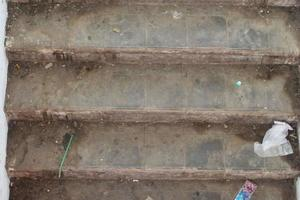 Cement stairs were dirty and dusty photo
