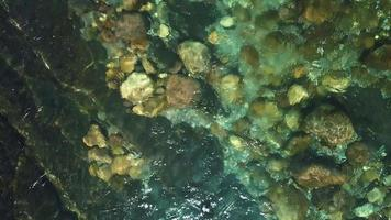 Mountain river with stones at the bottom video
