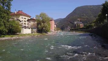 View of San Pellegrino Terme from a drone video