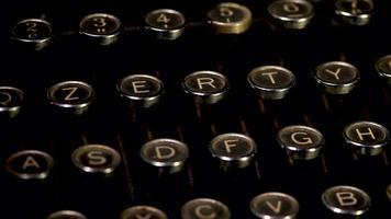 Detail of antique typewriter keys video
