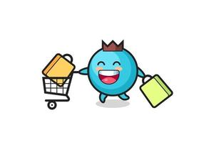 black Friday illustration with cute blueberry mascot vector