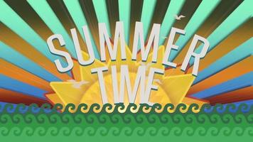 Text Summer Time with sea waves and sun rays on summer background video