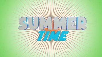 Animated text Summer Time with sun rays on green summer background video