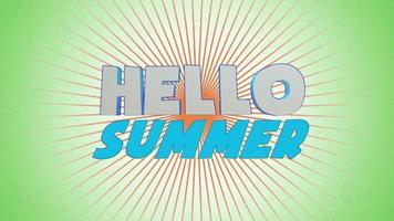 Animated text Hello Summer with sun rays on green background video