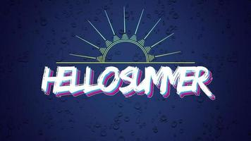 Animated text Hello Summer with sun rays on purple summer background video