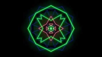 Motion colorful neon geometric shape in space on abstract background video