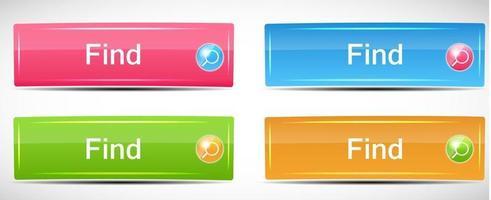 Shiny Rectangle Menu Buttons vector illustration