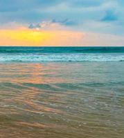 Beautiful colorful sunset landscape panorama Bentota Beach Sri Lanka. photo