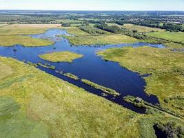 Sellstedter See lake and Ochsentriftmoor taken from above with drone. photo