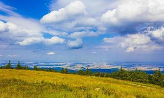 Landscape Panorama view from top of Brocken mountain Harz Germany photo