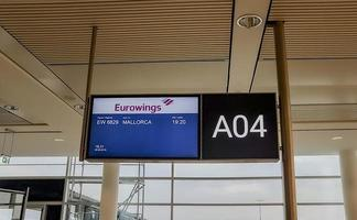 Bremen, Germany, 2021 - Eurowings Airlines boarding timetable photo